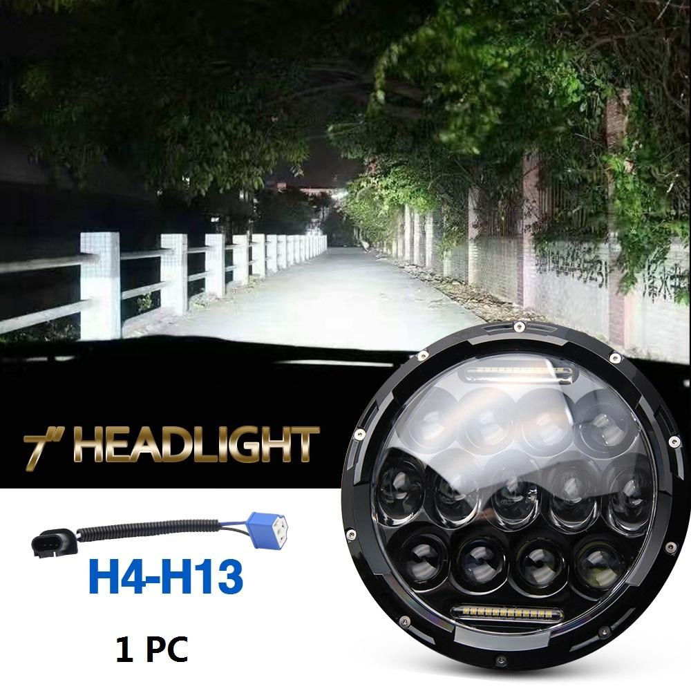 75w Led Headlight 7inch Round High Low Beam Dc 12v 24v External Lights For  Off Road 4x4 Jeep Wrangler Jk Tj Lada Niva Led Operating Lights Led  Portable Lamp ...