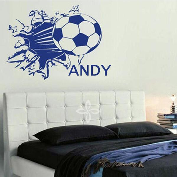 Vinyl Football Sport Wall Decals Wallpaper Personalized Name Kids Wall  Stickers Children Room Decor Size 48*60cm Baby Bedroom Wall Art Wall  Decoration For ...