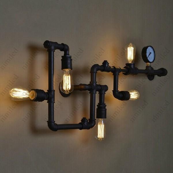 Darmowa wysyłka rury wody lampa ścienna Vintage Lampa Loft Loft Wall Lampa Doskonale dopasowany E27 Edison żarówka żarówka HSA1422