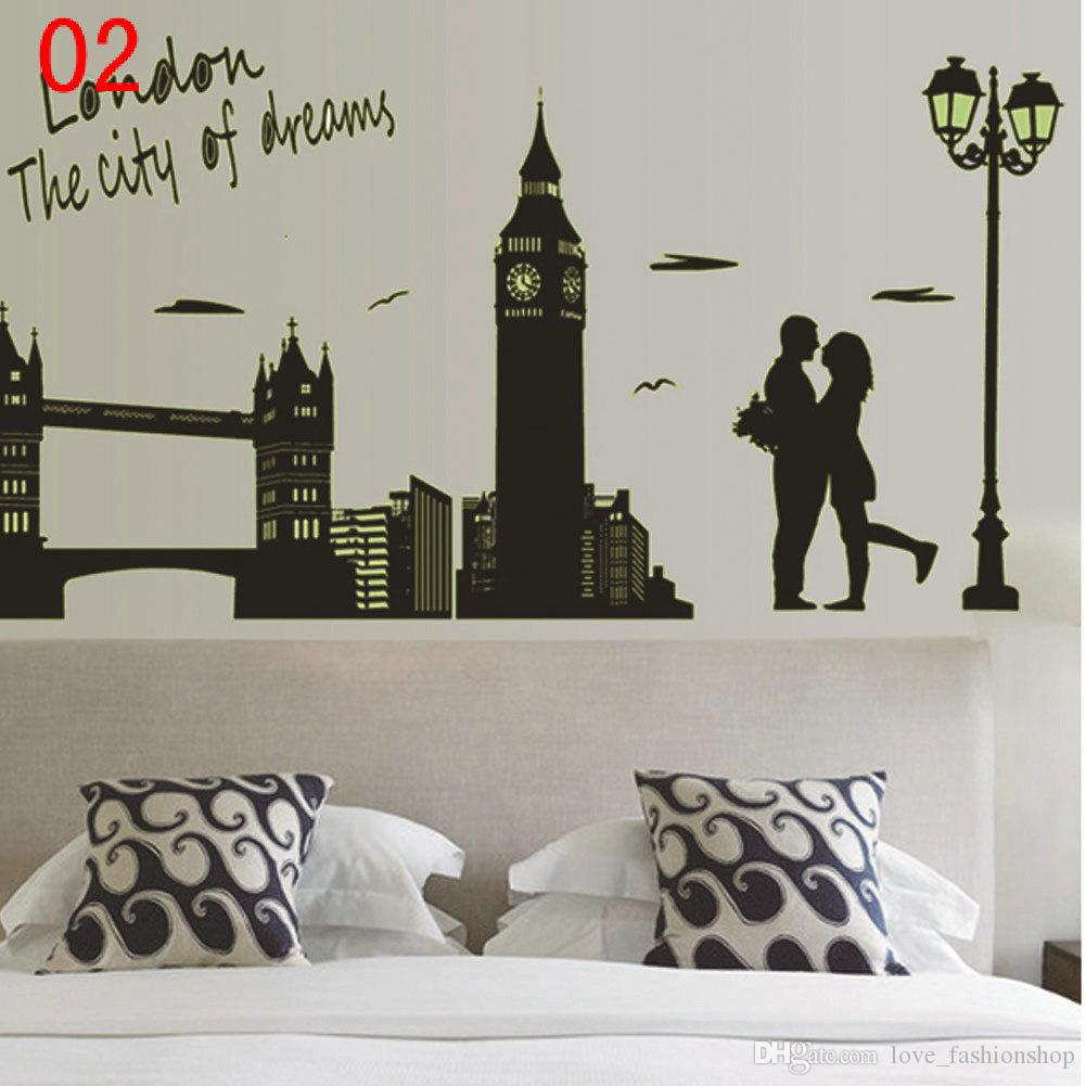DHL Mix 5 styles People wall stickers decals Party Decoration Jackson's dance Marilyn Monroe Hepburn's eyes London city art wallpaper