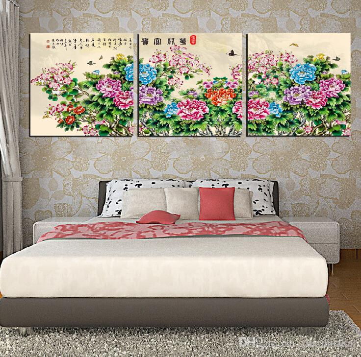 Hot Sell Modern Wall Painting Art Picture Paint on Canvas Prints rose fish Lotus wedding ring petal tree Coffee Blue Peacock