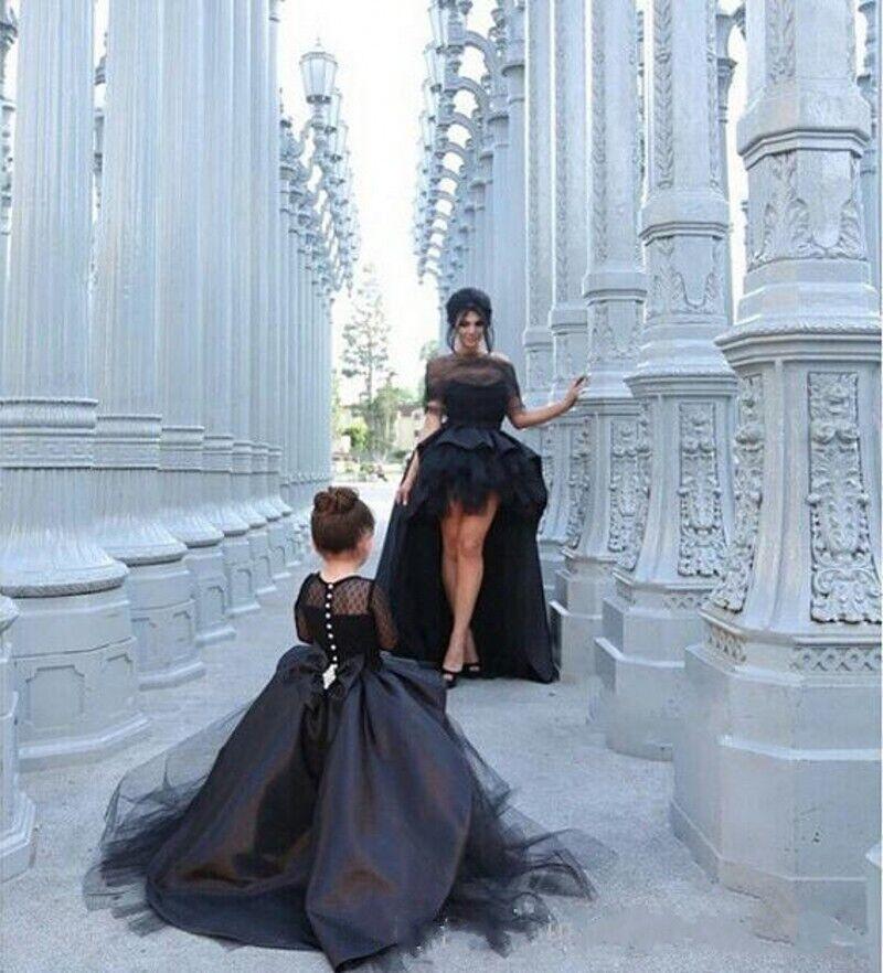 Hi_lo party kleider schwarz schulter schult tered tulle sexy prom kleider mit wraps mutter und tochter kurze hülsen cocktail abendkleider