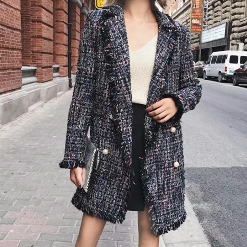TWOTWINSTYLE 2017 Autumn Tassel Cardigan Female thin checkered Tweed Coat Long Sleeve Elegant Loose Fashion Women Tops