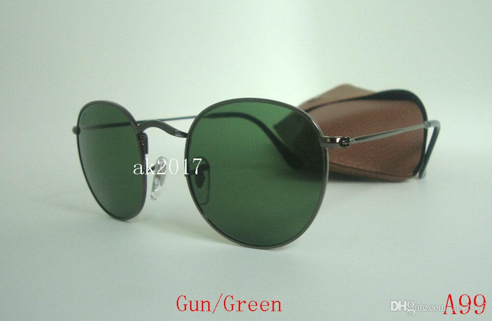 High Quality Mens Womens Round Sunglasses Eyewear Classic Sun Glasses Silver Metal Black 50mm Glass Lenses Come With Brown Case