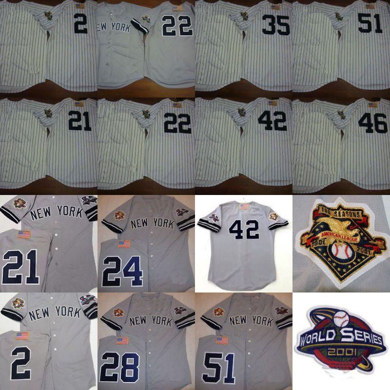 new concept 7a8bb da644 2001 WS Baseball Jersey Chicago 2 Derek Jeter 21 PAUL O NEILL 24 TINO  MARTINEZ 42 MARIANO RIVERA 51 BERNIE WILLIAMS Jerseys