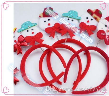 6 unids Envío libre Los niños adultos suministros de la fiesta de Navidad Santa Muñeco de nieve cervatillo aro hebilla partido sombrero de navidad tocado horquilla aro adu