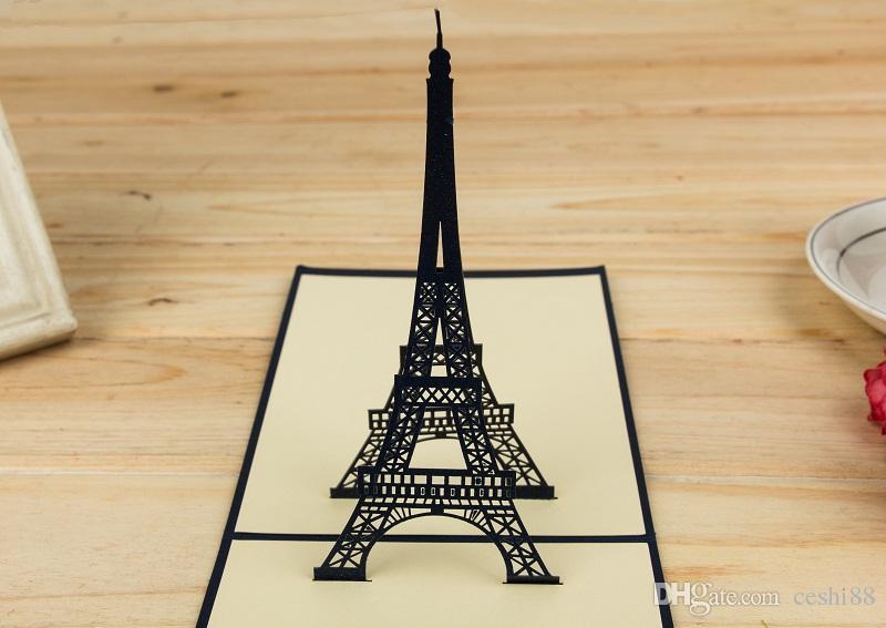 3D بطاقات المعايدة رومانسية برج ايفل أجوف الإبداعية Kirigami اوريغامي 3D المنبثقة بطاقات الهدايا