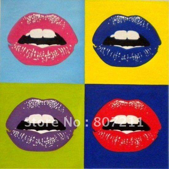 2018 andy warhol kiss goodbye lips pop art handpainted oil painting on canvas warhol style. Black Bedroom Furniture Sets. Home Design Ideas