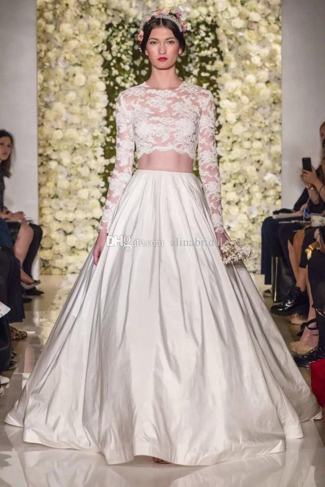 خمر الدانتيل 2 اثنين من قطعة فستان الزفاف مع الأكمام الطويلة 2015 زهير مراد مثير انظر من خلال فساتين الزفاف أثواب الزفاف vestidos دي noiva
