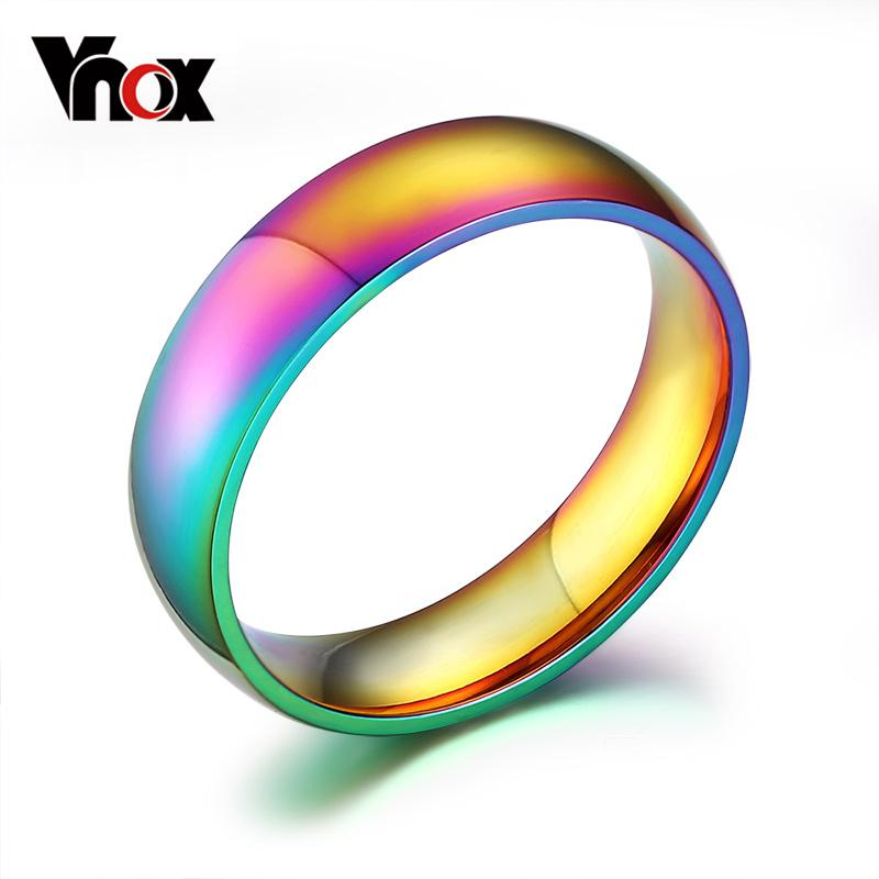 6mm Wide Gay Pride Rings Jewelry Rainbow color wedding rings for women and men wholesale stainless steel ring Vnox R-105 Christmas party gif
