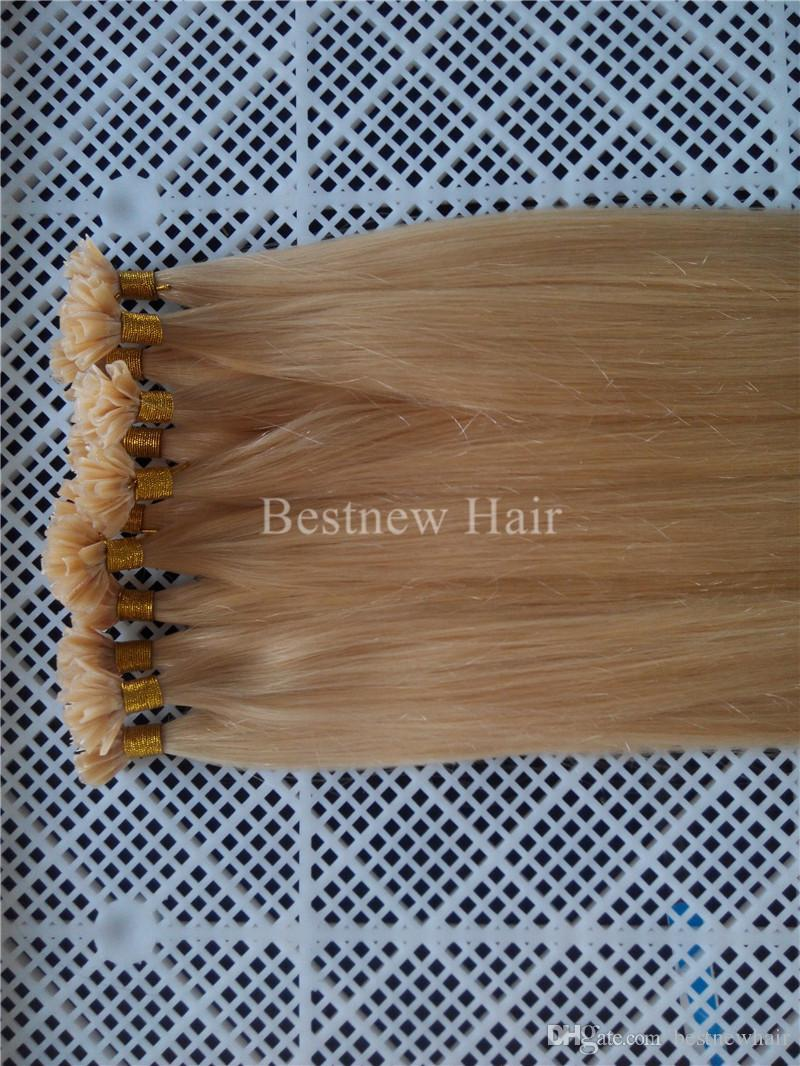 """Indian Remy Nail U Tip Hair Extensions 16"""" 18"""" 20"""" 22"""" 24"""" 100g 1g/s #613 Bleach Blonde DHL fast shipping"""