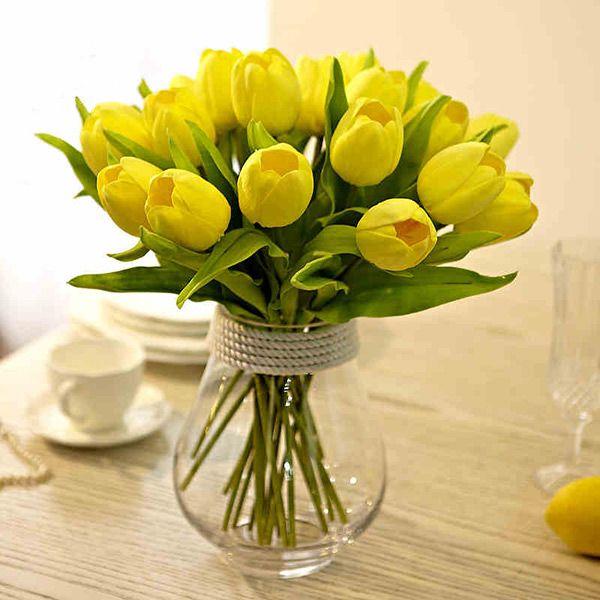 Compre Bonita 20 Unids Flor Artificial Real Touch Pu Tulipanes