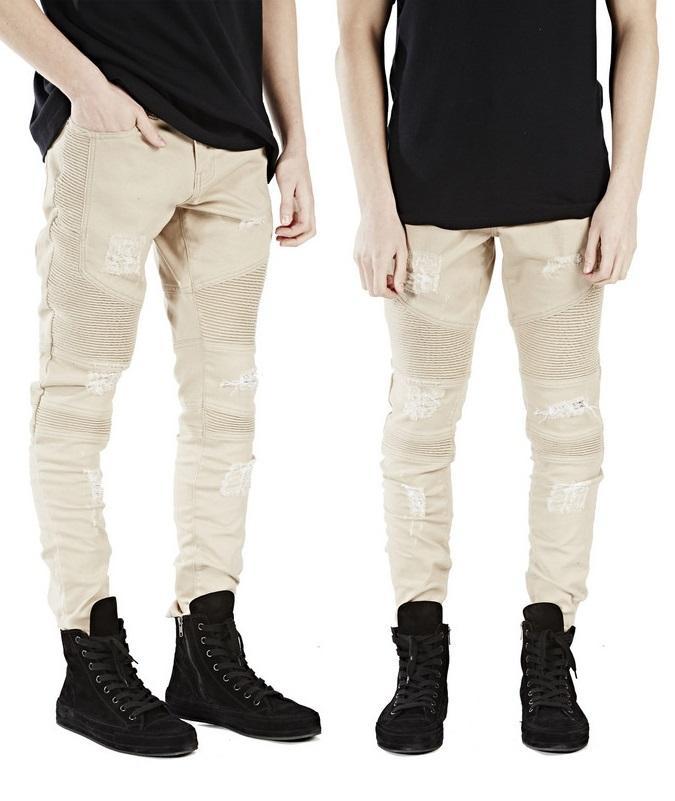 48719dde316ac ... pantalones vaqueros destruyen los pantalones vaqueros del motorista  delgado ajuste rasgado apenado kanye west marca hip hop streetwear swag  pantalones