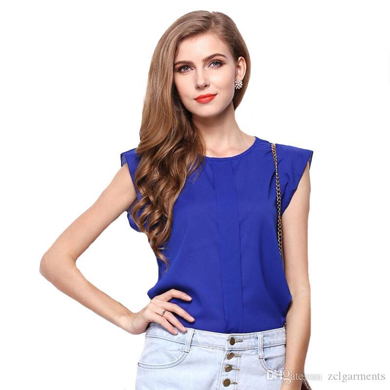 Compre Verano De Manga Corta Para Mujer Camisas De Gasa Top Blusas O Cuello  Camisetas Casual De Moda Tops Más Tamaño Camiseta Femenina A  5.33 Del ... 6e4d2d598a19e