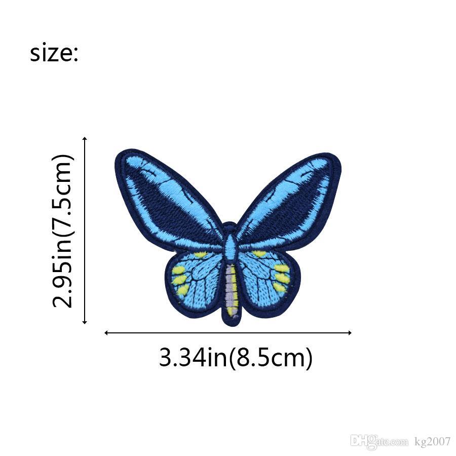 Blue Butterfly Patches für Kleidung Taschen Eisen-on Transfer Applikationen Aufnäher für Jeans nähen auf Stickerei Flecken-DIY