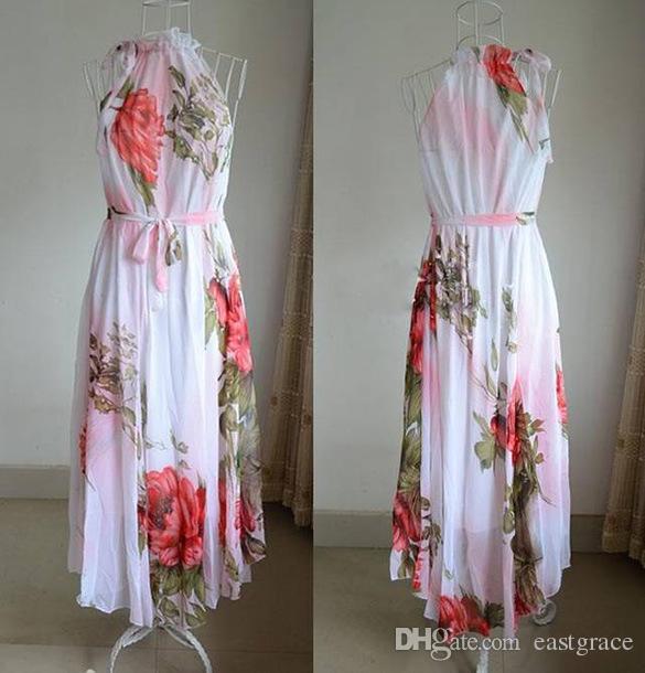 Холтер длинные цветочные шифоновое платье элегантный красный трепал Большой маятник богемный платье дамы печатных платье дамы печатных платье длинные макси платье