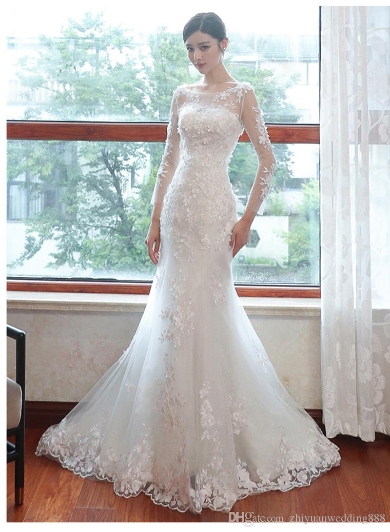 Long Sleeves Mermaid Lace Wedding Dresses 2018 Full Embroideried ...