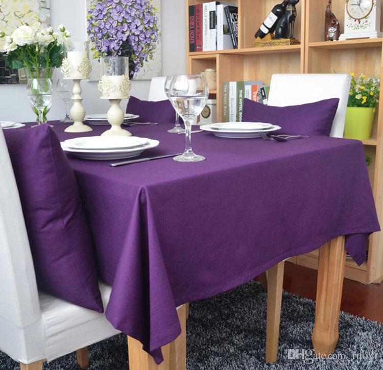 Thick Cotton Fabric Solid Purple Table Cover Table Cloths For Home