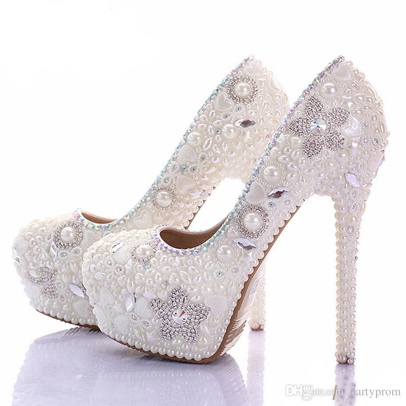 Precioso vestido de novia de marfil Zapatos Bling Star Crystal Banquet Party Prom Shoes Mujeres 10cm de tacón alto Rhinestone Zapatos de novia