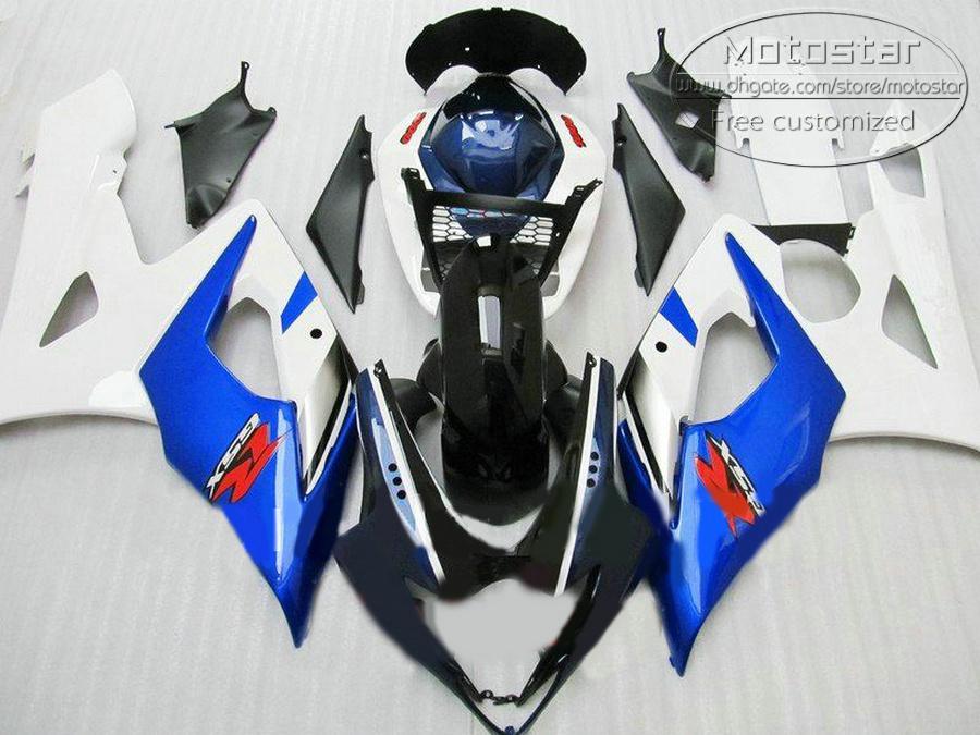 7 cadeaux Bodykits ABS pour SUZUKI 2005 2006 GSXR1000 K5 Kde carénages GSX-R1000 05 06 kit de carénage blanc bleu noir EF50