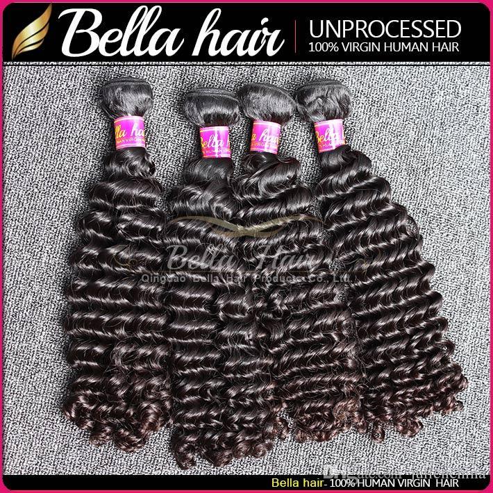 Betyg 9a Bästsäljande Malaysisk Human Hair Extension Obehandlad Naturlig Färg / Djupa Wave Hair Weaves Gratis frakt