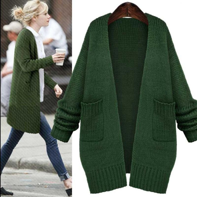 Hottest ! Dark Green Long Knitted Sweaters Fashion Loose Long ...