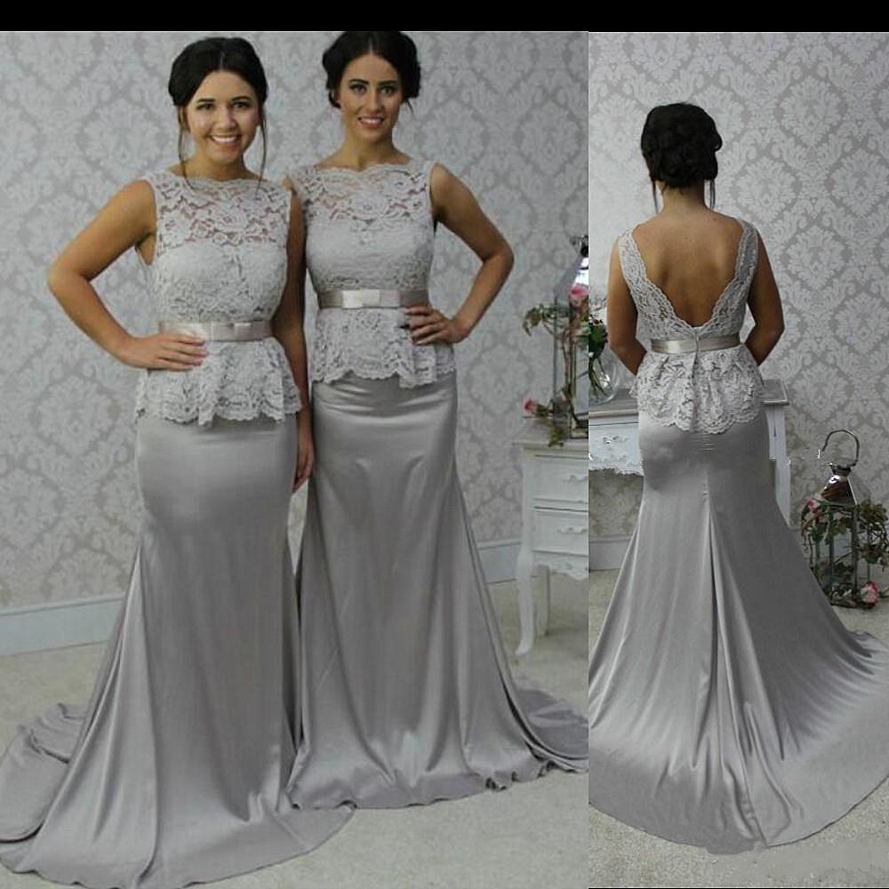 Echte Mode Brautjungfer Kleider Jewel Sheer Mermaid Lange Hochzeit Brautjungfer Kleid Top Spitze Silber Elastische Satin Brautjungfer Abendkleid