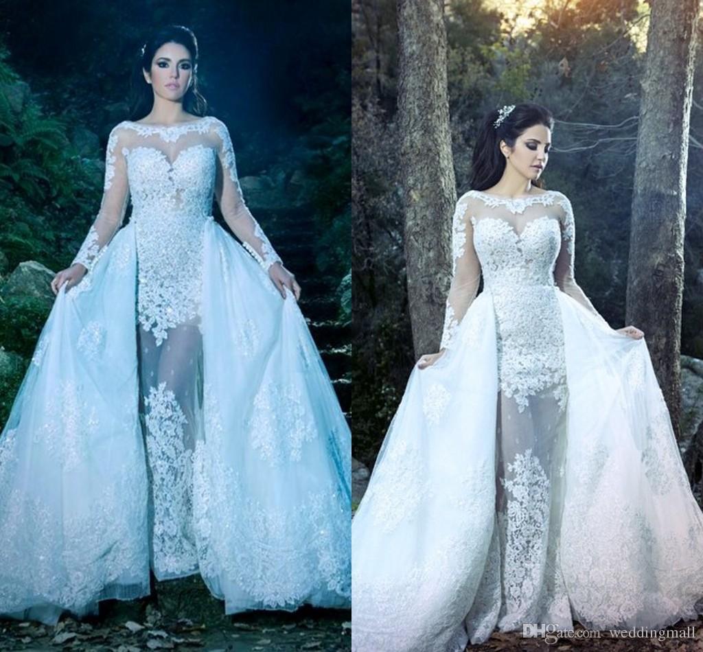 2015 Dorra Zarrou Sheer Neck Lace Beaded Arabic Wedding Dresses Long ...