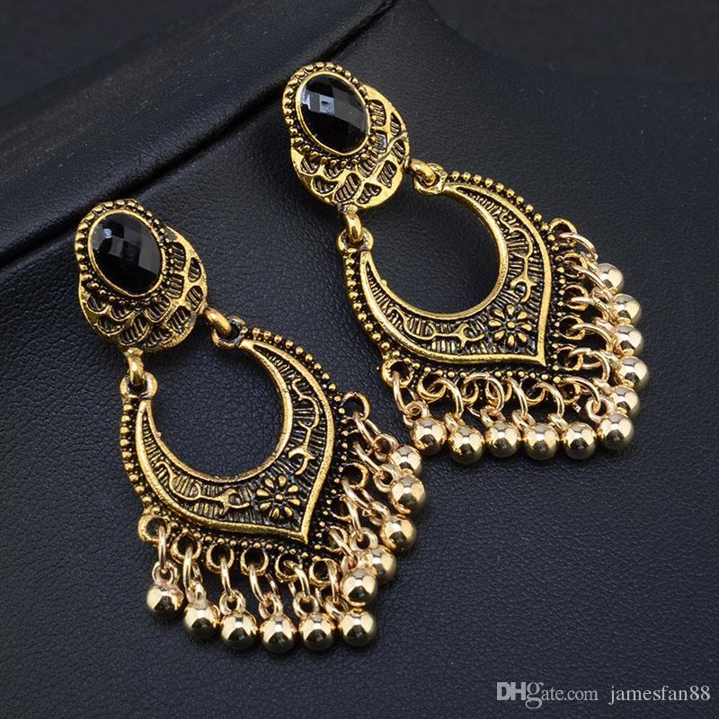 Newest Vintage Beads Dangle Earrings Bohemian Drop Earring Women Indian Classic Tassel Dangle Earrings Punk Earrings From China
