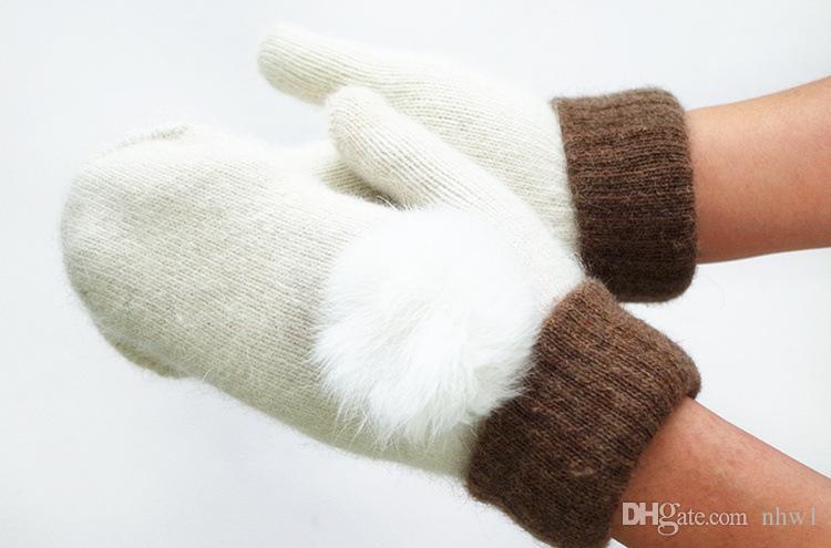 إمرأة صوف محبوك الحياكة قفازات الشتاء الدافئة الأرنب الفراء الكرة الأعلى بوم بوم سميكة القفازات لسيدة