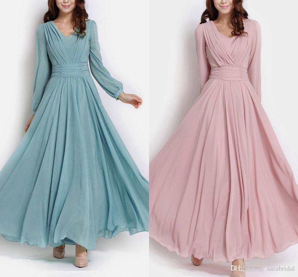 2014 Modest Long Sleeve Evening Dresses Muslim V Neck Ruched A Line ...