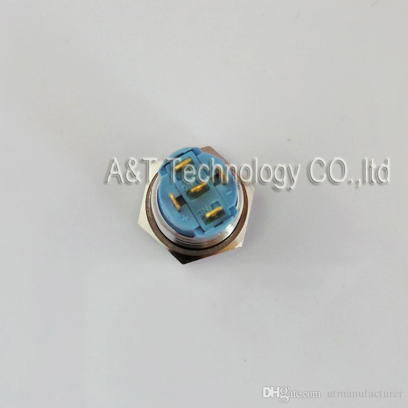 TUV CE quality car boat 16mm 12v blue led illuminated on/off micro anti vandal waterproof momentary push button switch