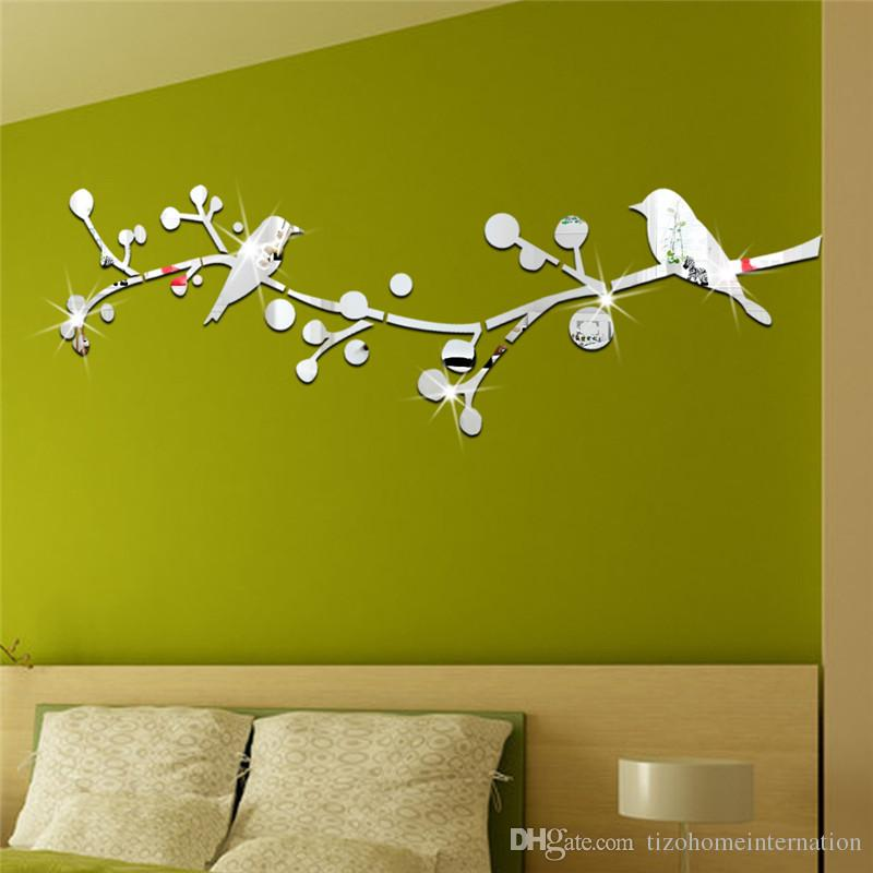 Double Birds Tree Reflective Mirror Like Decorative Wall Sticker ...