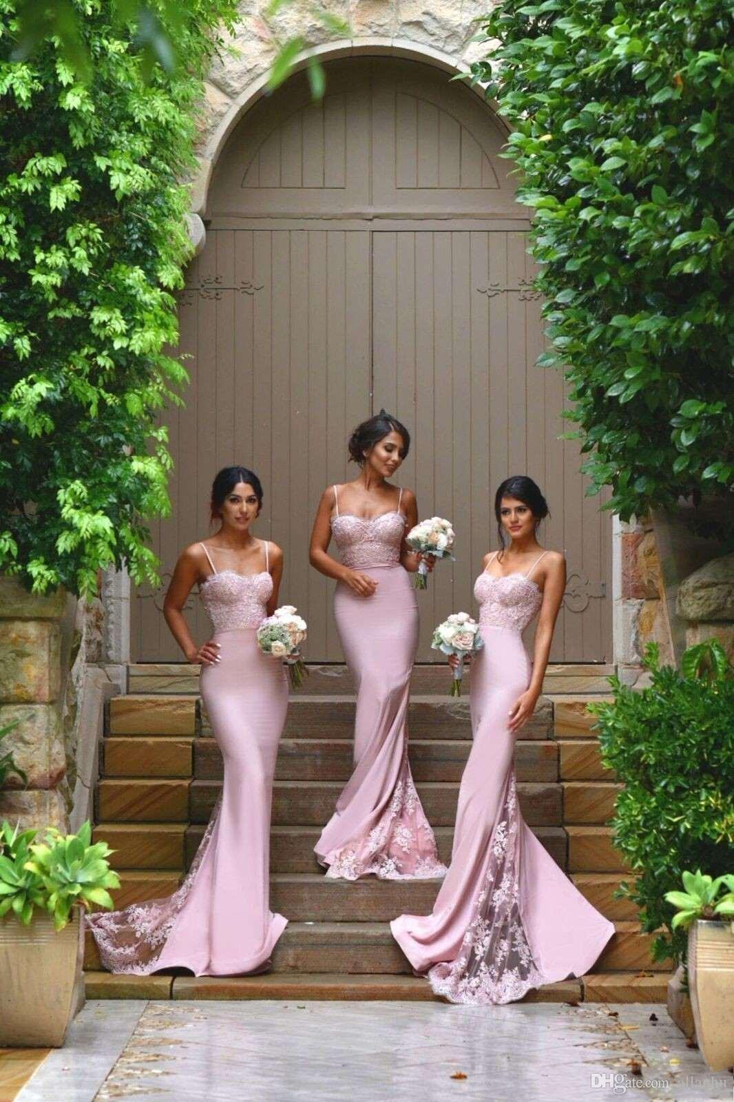 새로운 디자이너 핑크 섹시한 저렴한 인어 신부 들러리 드레스 스파게티 스트랩 레이스 Appliques 명예 드레스의 웨딩 하녀