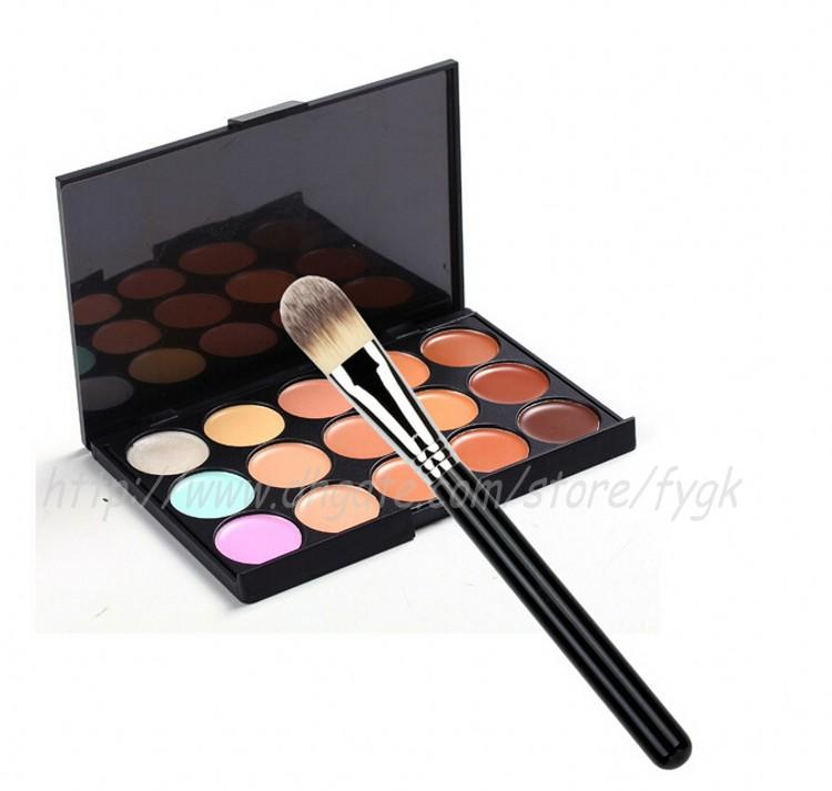 Contour Face Cream Makeup Concealer Palette +Tapered Face Powder Blush Foundation Cosmetic Powder Brush