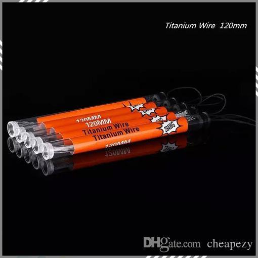 10 piezas en un tubo de alambre de titanio 120MM 24g 26g 28g 30g Cable de resistencia puro alambre de titanio Control de temperatura electrónico del cigarrillo DHL