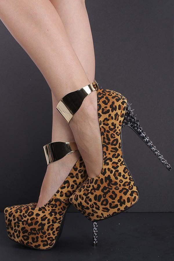 Big Size 35 42 Shoes Woman 2018 New Fashion Leopard Rivet Platform High Heels 6 Inch Sapato Women Pumps Sandals Footwear Bshoes From Kathylin133
