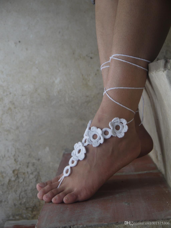 Casamento sandália com os pés descalços branco, crochê sandálias com os pés descalços, sandália com os pés descalços, casamento de praia, casamento do destino, sho nupcial, presente para ele