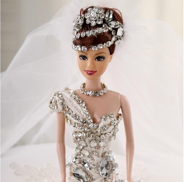 Wedding Dolls Christmas Barbie Villain Crystal Dedicated Gifts Ball Gowns Handcraft Favors Shiny Beads Bridal Toy High Quality Make 18