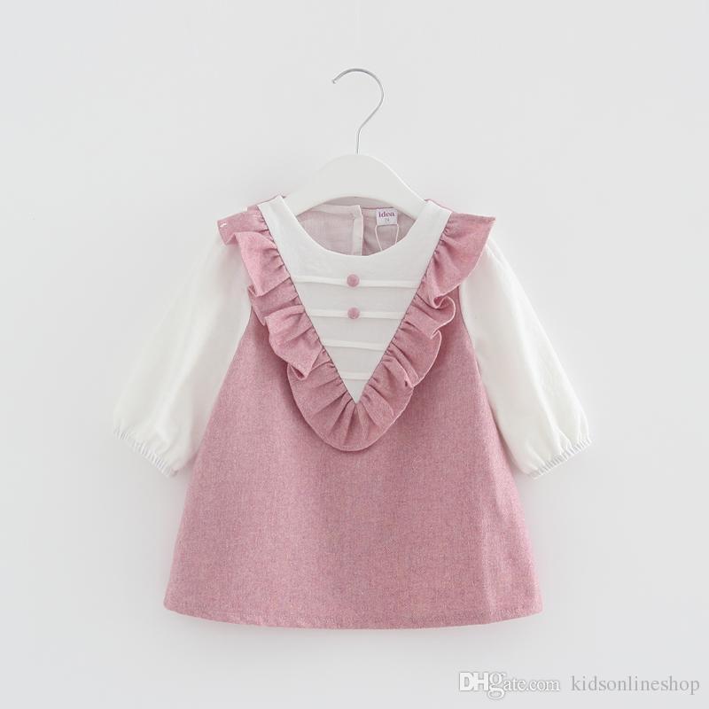 bee5bc3834a ... Summer   Autumn Children Girls Dress Baby Girl s Sweet Ruffles Long  Sleeve Dress Pink Bule Beige Baby Girls Dress Long Sleeve Dress Kids  Clothing Online ...