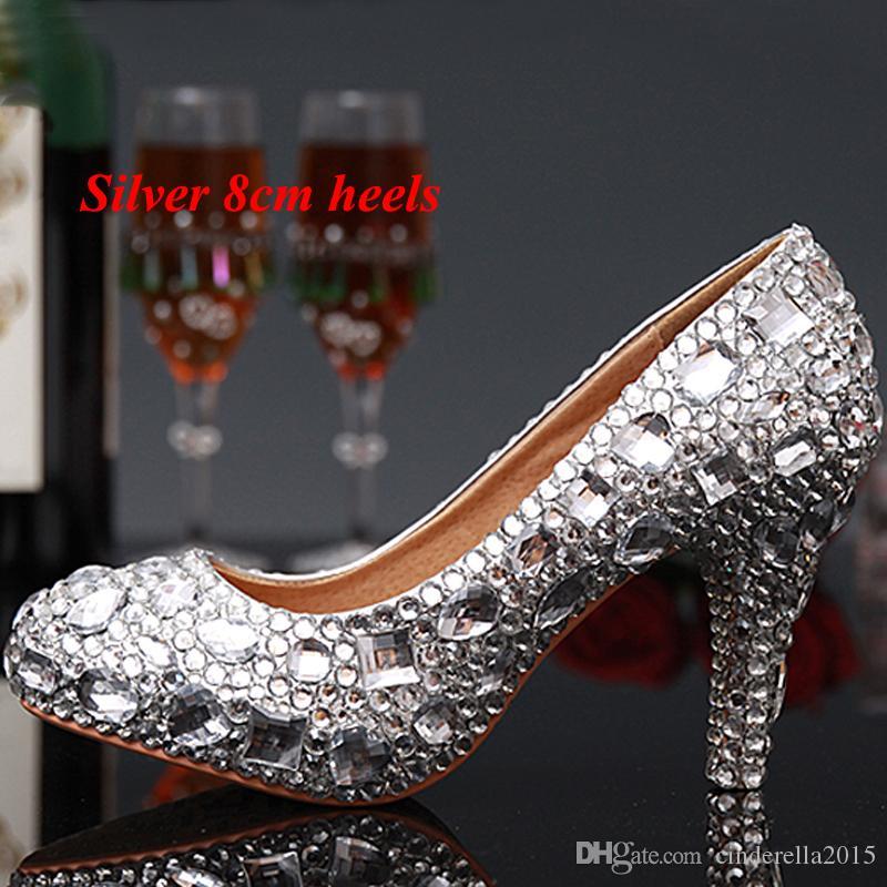 Luxus Abschlussfeier Prom Schuhe High Heel Silber Kristalle Strass Braut Hochzeit Schuhe Diamant Lady Schuhe für Hochzeitsfeier