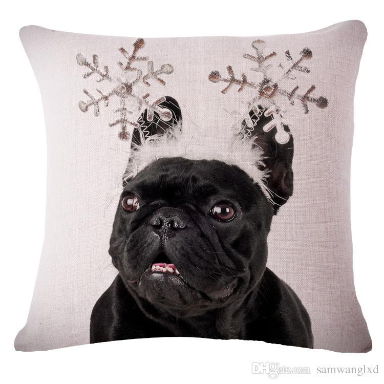 Cotton Linen Square Decorative Throw PillowCase Cushion Cover Cute Silence Pug Dog Sofa Couch Chair Throw Pillow Cover Lovely French Bulldog