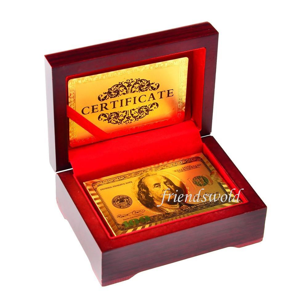 Yeni 24 K Karat Altın Varak Kaplama Poker Oyun Kartı Ahşap Kutu ve Sertifika ile En Iyi Deal Ücretsiz Kargo