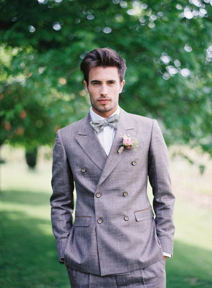 Vintage Summer Grey Linen Men Suits Mens Wedding Suits Peaked ...