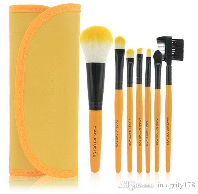 Pincéis de Maquiagem Make Up Kit Escova Kits Pestana Pincel de Blush Escova De Olho-sombra Sponge Sumudger 7 peças Make Up Ferramentas PU Bag