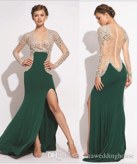 Sexy Frisado Lado Dividir Sereia Vestido de Noite Formal Com Decote Em V Sweep Trem Sexy Vestidos de festa Vestidos De Fiest Árabe Barato Prom Vestido