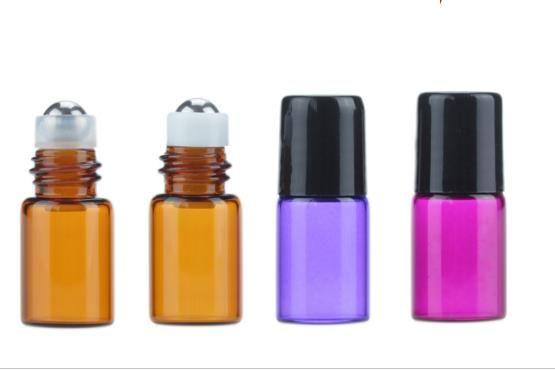 1ML 2ML 3ML 미니 롤 유리 병 향수 PERFUME 앰버 브라운 THICK GLASS BOTTLES ESSENTIAL OIL 병 스틸 금속 롤러 볼 B813