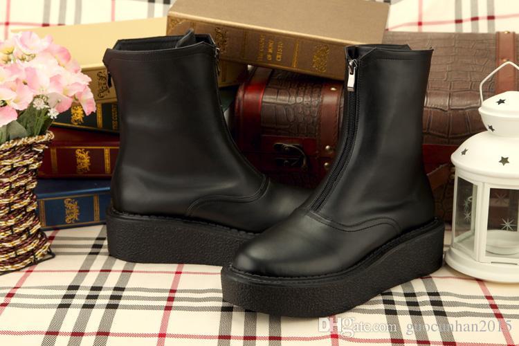 2015 Mode Britannique Style Casual Noir Hommes En Cuir Véritable Pantshoes Cheville Chaussures Thermique Hiver Slip-on Bottes De Neige Bottes De Pluie Pour Hommes 38-45