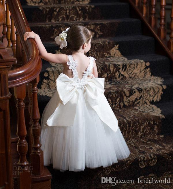 Fleur Fille Robe Mignon Bijou Bretelles Spaghetti Dentelle Fleur Filles Robes Pour Les Mariages Tulle Jupe Arc Retour Cheville Longueur De Mariage