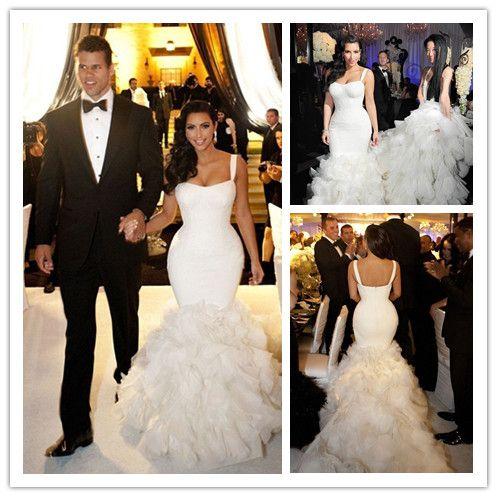 2015 Kim Kardashian Wedding Dress Sexy Spaghetti Organza Ruffle